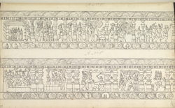 Narrative sculpture on the north side of the Amritesvara Temple at Amritpur, 1805. Second panel of the Mahabharata frieze